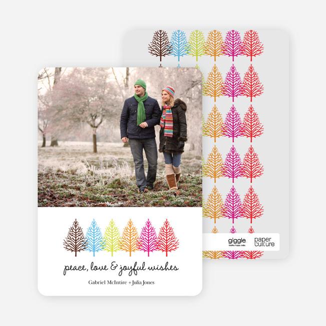 Colorful Trees Holiday Photo Cards - Fuschia