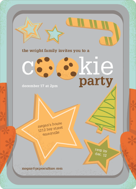 Cookie Party Holiday Invitations - Papaya