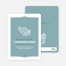 Cornucopia: Thanksgiving Invitations - Vista Blue