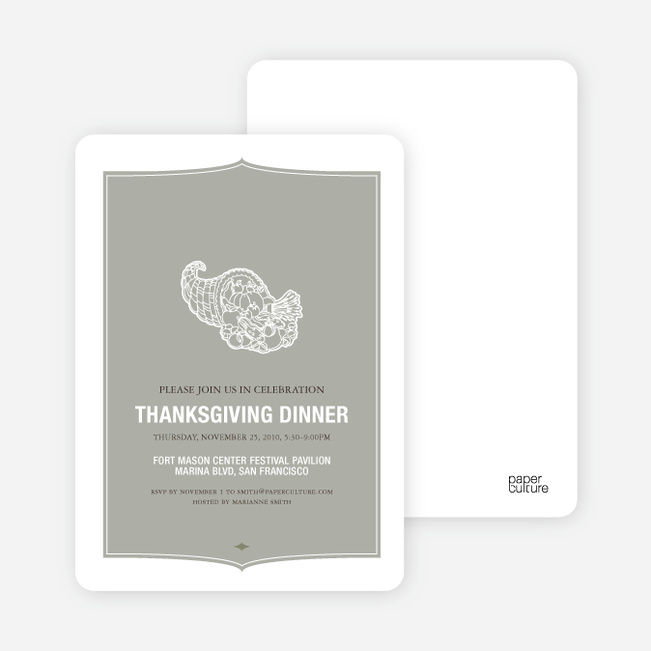 Cornucopia: Thanksgiving Invitations - Silver