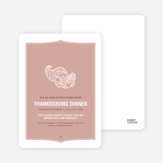 Cornucopia: Thanksgiving Invitations - Vintage Rose