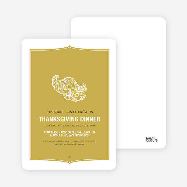 Cornucopia: Thanksgiving Invitations - Mustard