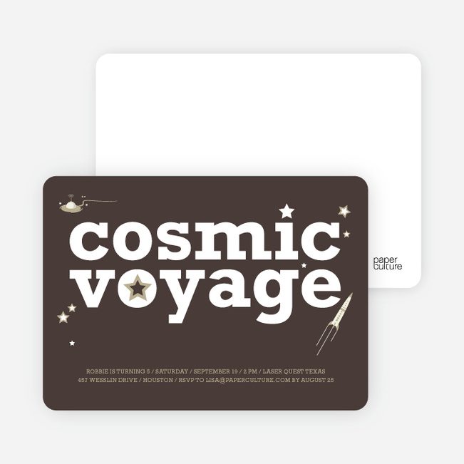 Cosmic Space Voyage Invitation - Charcoal Grey