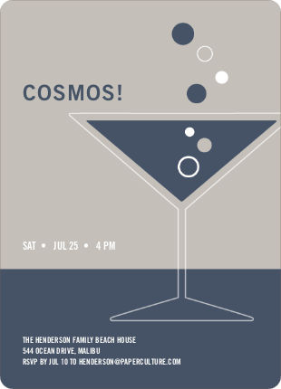 Cosmopolitan Party Invitations - Slate Blue