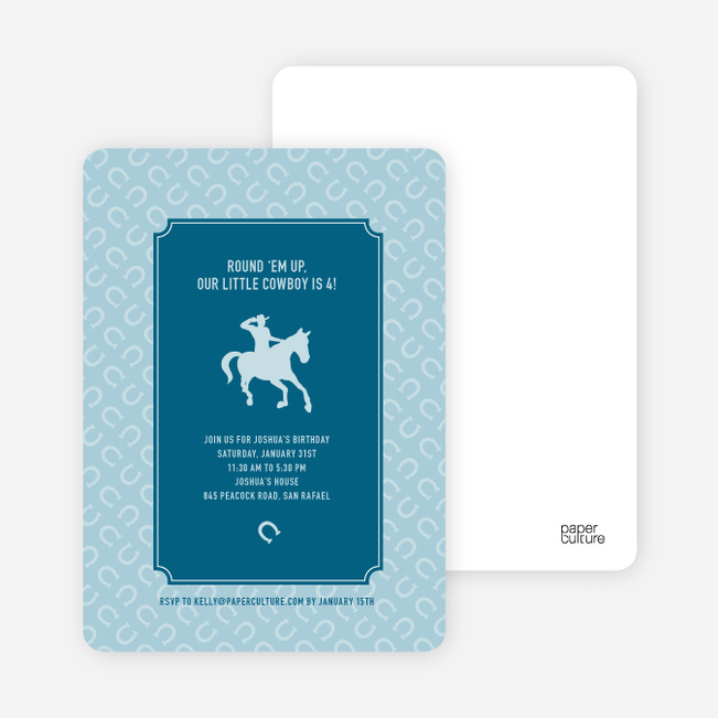 Cowboy Birthday Invitation - Cadet Blue