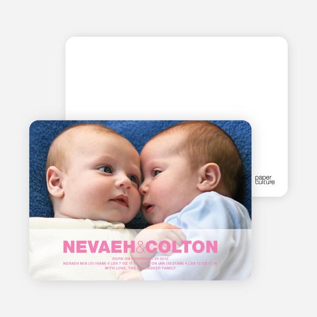 Cradle Talk Twin Photo Birth Announcements - Shocking Pink