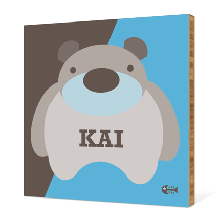 Cuddly Bear Modern Bamboo Art - Blueberry Bear