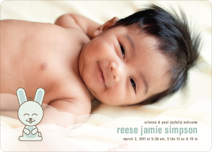 Cute Bunny Squat Baby Announcements - Mint Drop