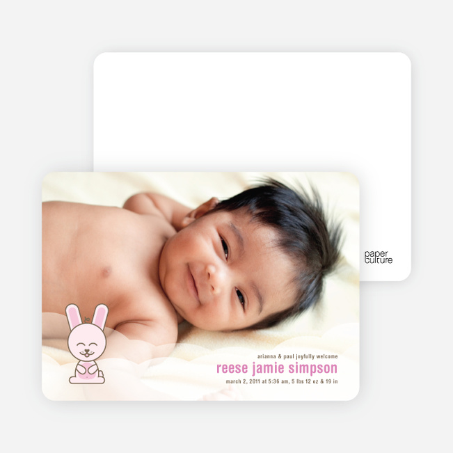 Cute Bunny Squat Baby Announcements - Pink Cream