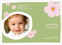 Flower Photo Cards for Birthday Parties - Apple Green