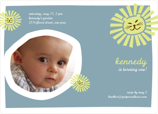 Lion King Birthday Invitation - Slate Blue