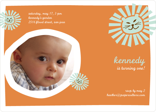 Lion King Birthday Invitation - Pumpkin Orange