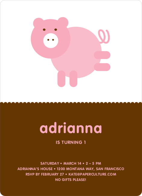 Little Piggy Modern Birthday Party Invitation - Piglet Pink