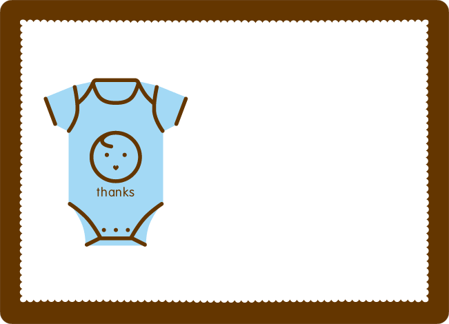Thank You Card for Onesie Baby Shower Invitation - Baby Blue