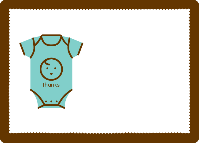 Thank You Card for Onesie Baby Shower Invitation - Mint