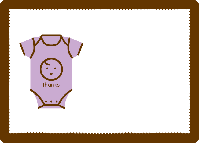 Thank You Card for Onesie Baby Shower Invitation - Light Lavender
