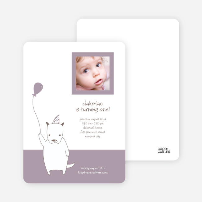 Dale (not Snoopy or Pluto) the Dog Themed Photo Birthday Party Invitation - Light Eggplant