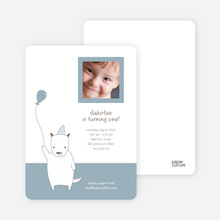 Dog Themed Photo Invitation - Dusty Blue