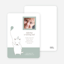 Dog Themed Photo Invitation - Dusty Green