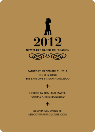 Dance Dance Not So Revolution New Year's Invitations - Tan Brown