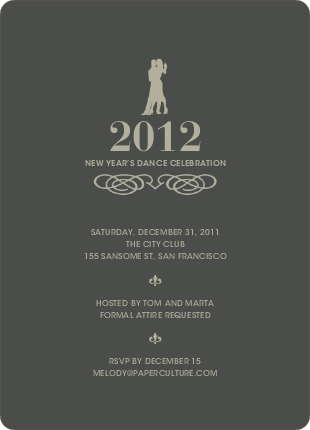 Dance Dance Not So Revolution New Year's Invitations - Charcoal Grey