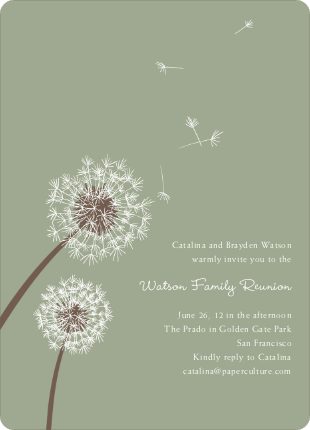 Dandelion Party Invitations - Celadon
