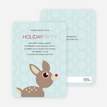Deer Themed Holiday Party Invitations - Powder Blue
