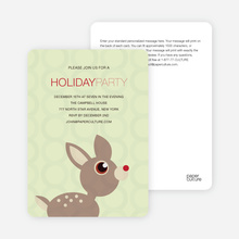 Deer Themed Holiday Party Invitations - Honeydew Green