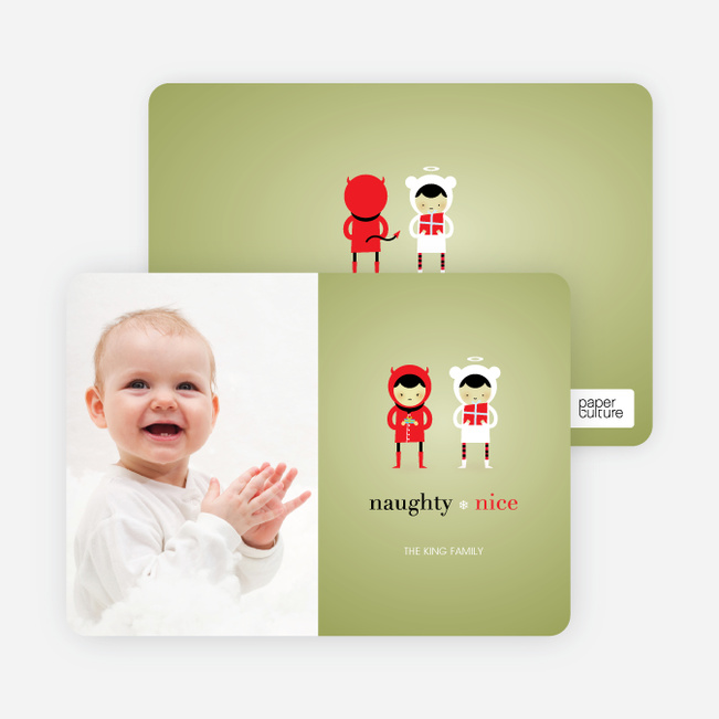 Devil and the Angel Holiday Photo Cards - Bamboo