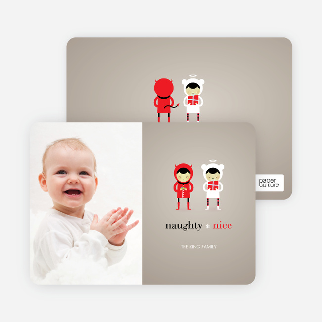 Devil and the Angel Holiday Photo Cards - Sand