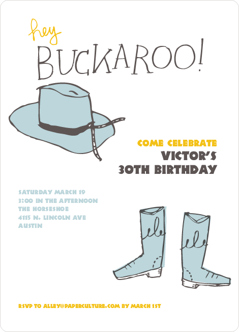 Hey Buckaroo: Wild West Cowboy Party Invitations - Gunslinger Blue