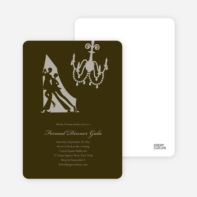 Dinner and Dancing Invitations - Espresso