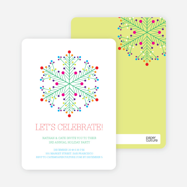 Dotted Snowflake Holiday Invitations - Emerald Green