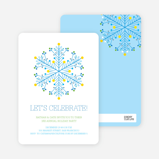 Dotted Snowflake Holiday Invitations - Royal Blue