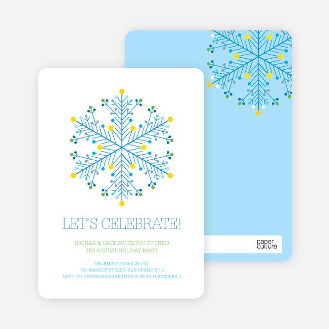 Dotted Snowflake Holiday Invitations - Royal Blue