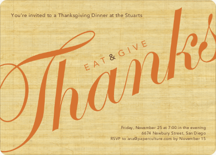 Eat & Give Thanks Thanksgiving Invitation - Wheat