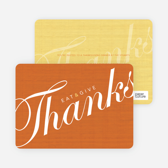 Eat & Give Thanks Thanksgiving Invitation - Orange Spice