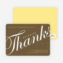 Eat & Give Thanks Thanksgiving Invitation - Taupe