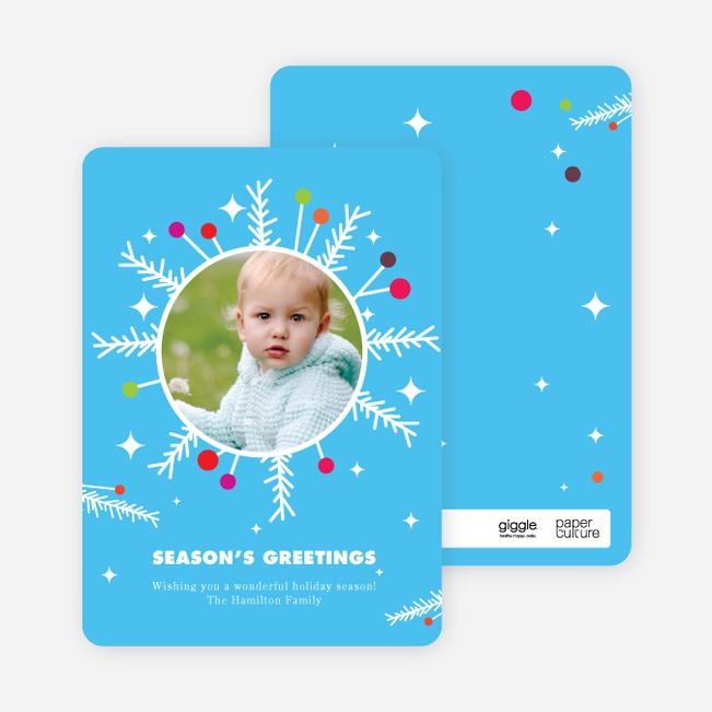 Wreath Christmas Cards - Cornflower Blue