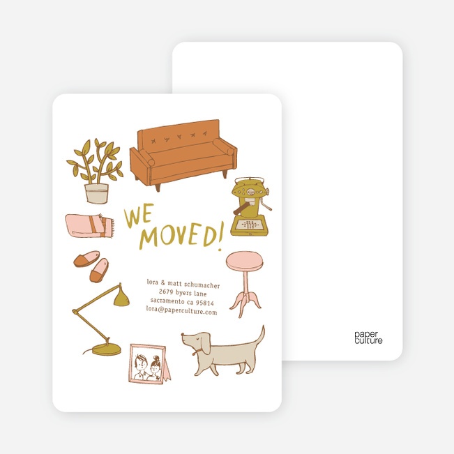Eco Friendly Moving Announcements for a Trip Down Memory Lane - Mocha Cream