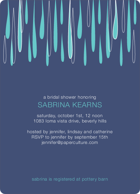 Mod Raindrop Shower Bridal Shower Invitations - Eggplant
