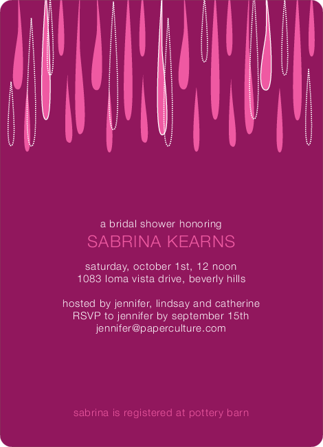 Mod Raindrop Shower Bridal Shower Invitations - Fuchsia