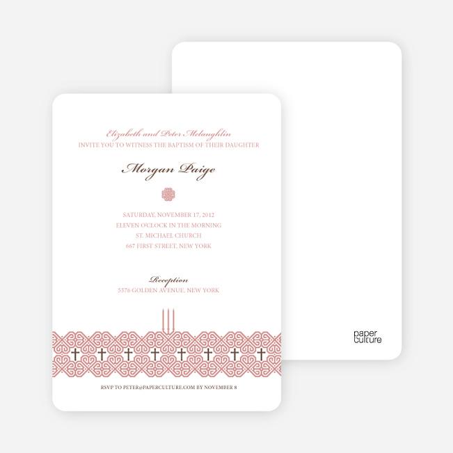Elegant Candle Baptism Invitation - Cranberry