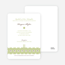 Elegant Candle Baptism Invitation - Olive Green