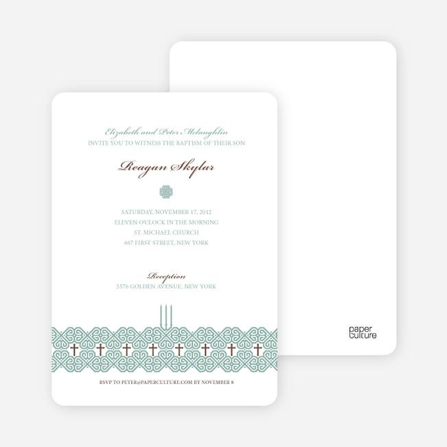 Elegant Candle Baptism Invitation - Green