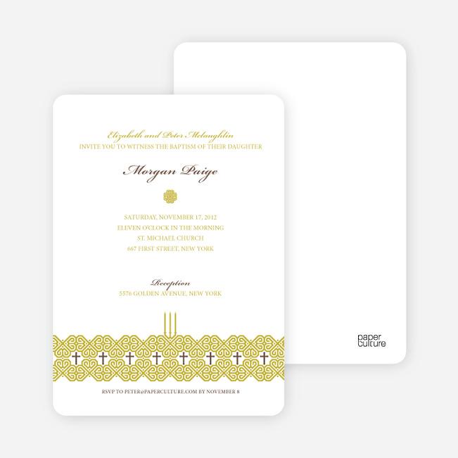Elegant Candle Baptism Invitation - Greenish Yellow