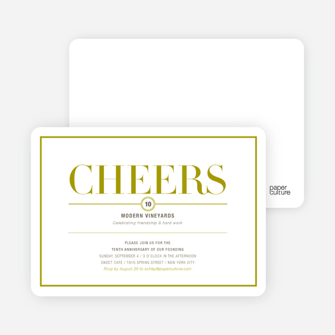 Elegant Cheers Invitations - Cilantro