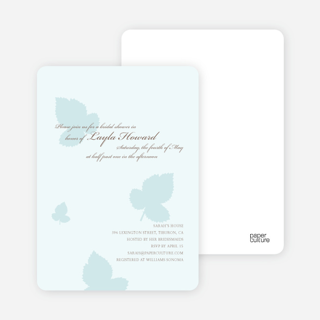 Elegant Leaves Bridal Shower Invitations - Ice Blue