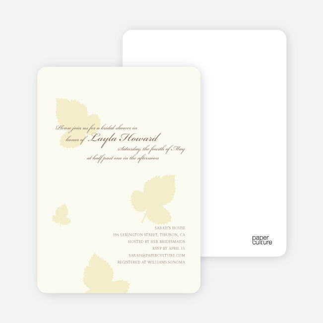 Elegant Leaves Bridal Shower Invitations - Pale Chiffon