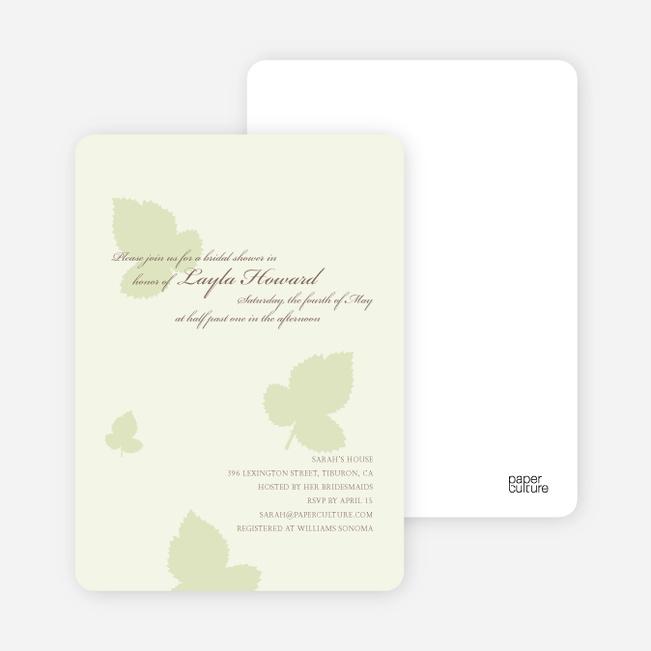 Elegant Leaves Bridal Shower Invitations - Honeydew